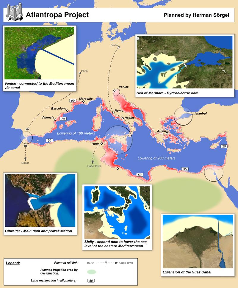 Atlantropa: Το απίστευτο γερμανικό σχέδιο για την ένωση Ευρώπης – Αφρικής!