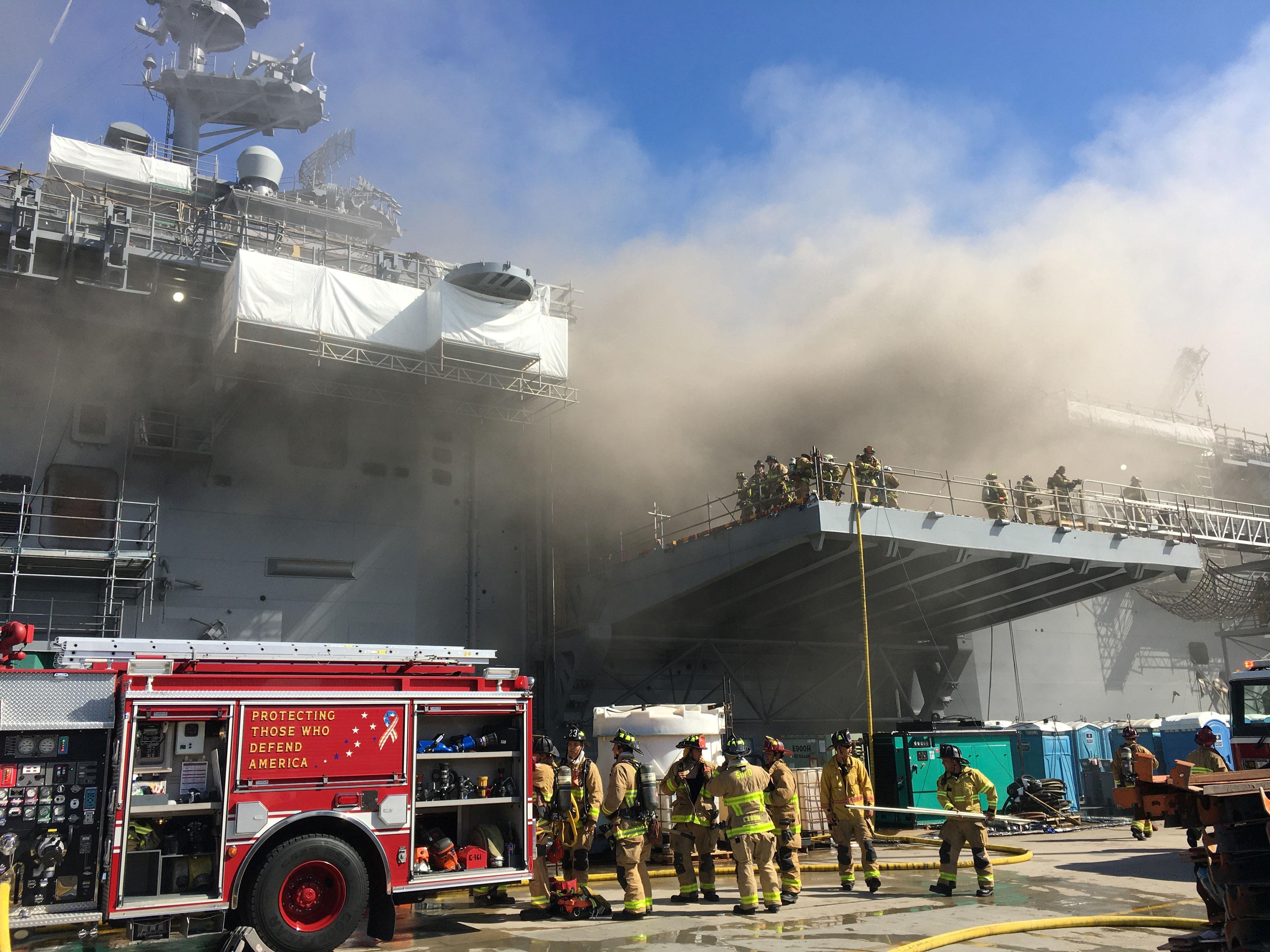 Αμερικανικό πολεμικό πλοίο τυλίγεται στις φλόγες μετά από έκρηξη – Μεγάλη επιχείρηση κατάσβεσης