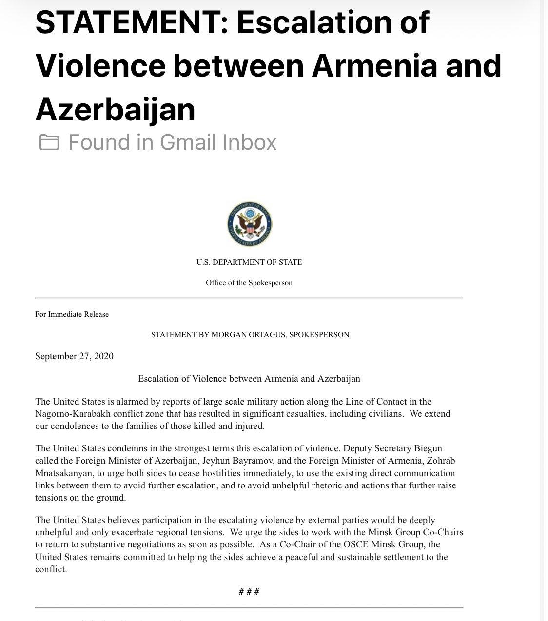 state dep azerbaijan