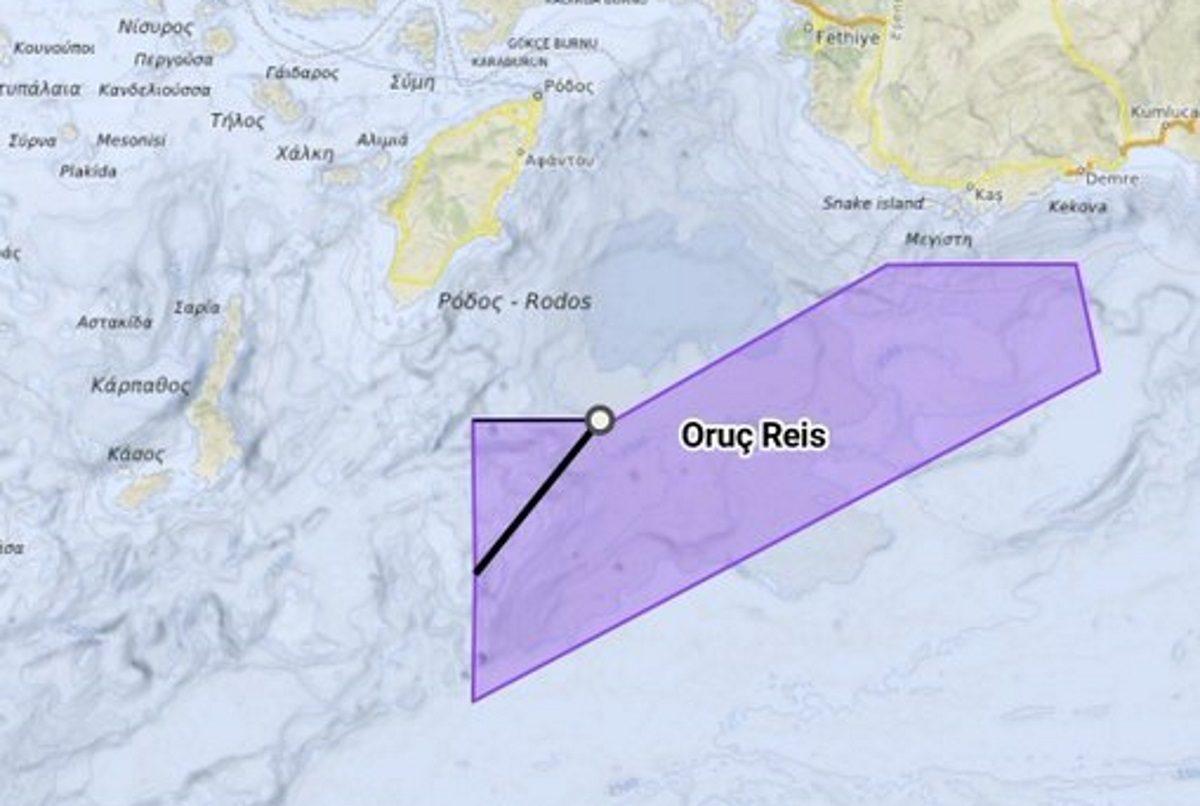 Oruc Reis: Έφτασε στα 12 ν.μ. από το Καστελλόριζο