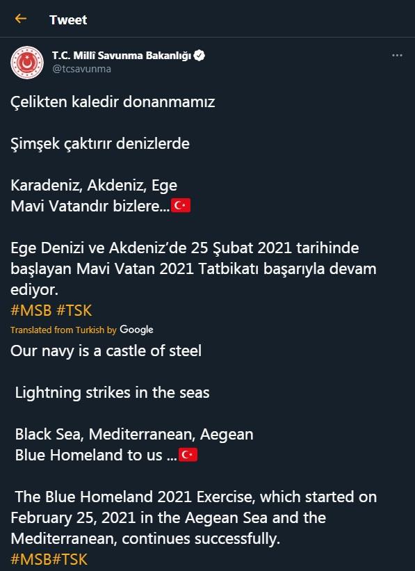 Προκλητική Τουρκία: «Γαλάζια Πατρίδα είναι το Αιγαίο, η Μεσόγειος και η Μαύρη Θάλασσα»