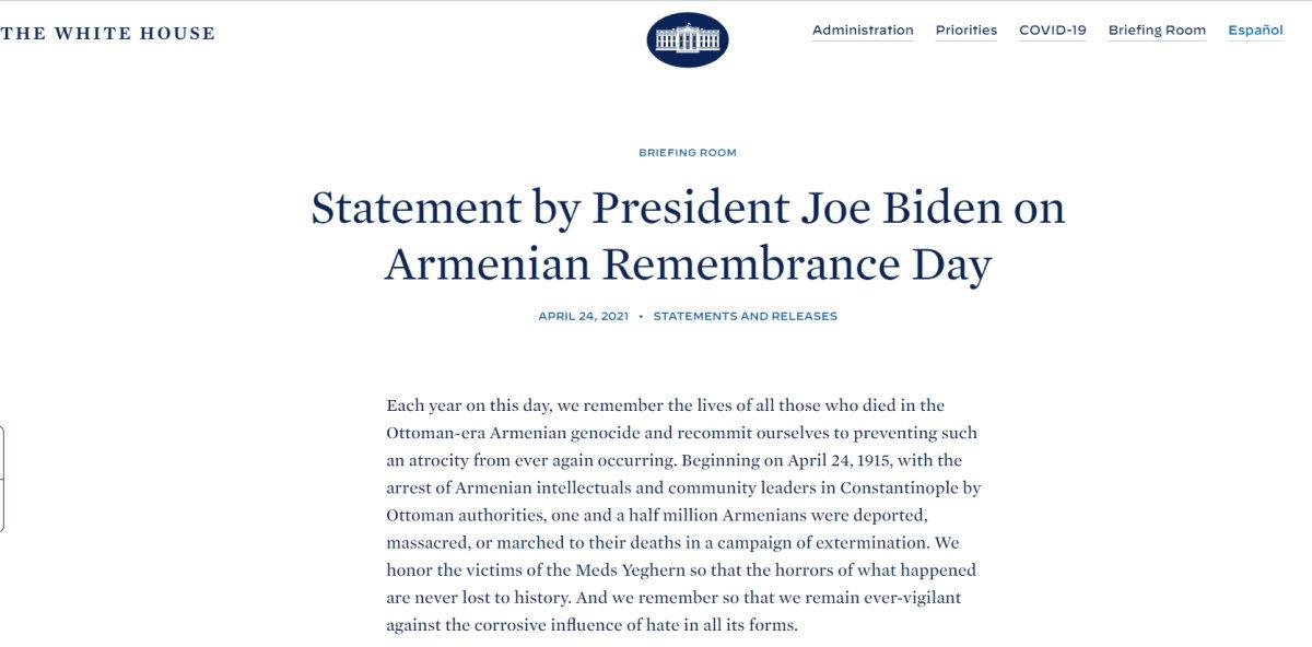Ο Τζο Μπάιντεν αναγνώρισε επίσημα τη Γενοκτονία των Αρμενίων