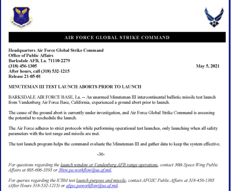 USAF: «Φιάσκο» η δοκιμή του διηπειρωτικού βαλλιστικού πυραύλου Minuteman III